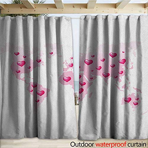 warmfamily Princess Porch Curtains Global Peace Theme World Map Dotted with Hearts Love Planet Earth W108 x L108 Baby Pink White Fuchsia