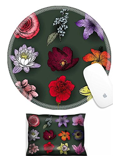 Luxlady Mouse Wrist Rest and Round Mouse Wrist Set IMAGE: 41494075 Set of flowers rose bird cherry tree lilac clematis orchid lily waterlily lotus hibiscus violet apricot almond cherry carnation (Clematis Lily)