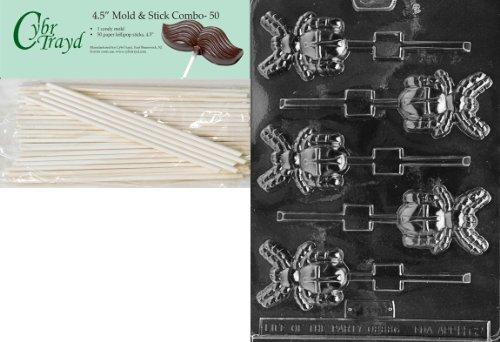 Halloween Chocolate Spiders (Cybrtrayd 45St50-H062 Spider Lolly Halloween Chocolate Candy Mold with 50 4.5-Inch Lollipop)
