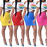 Adogirl Womens Sexy 2 Piece Outfits Short Sleeve Crop Top and PU Leather Bodycon Mini Hot Pencil Skirt