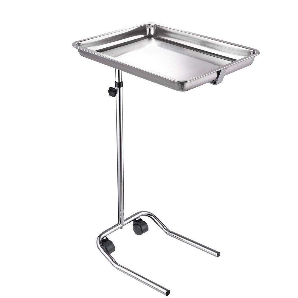 AW Mobile Mayo Stainless Steel Tray Stand Adjustable Trolley Medical Salon Equipment Tattoo 22lbs Capacity by AW