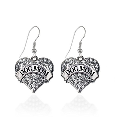 Dog Mom Pave Heart Earrings French Hook Clear Crystal (Dog Crystal Earrings)