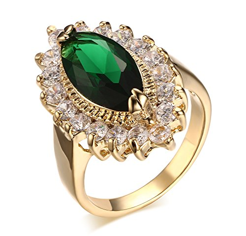 (Womens Gold Plated Copper Marquise Shape Green Cubic Zirconia Ring for Wedding Promise Engagement size :8)