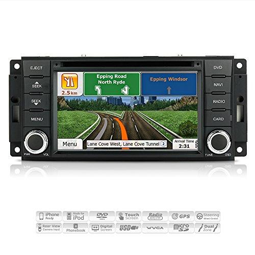AIMTOM AMN-0809-MB Jeep Dodge Chrysler In-Dash GPS Navigation DVD CD Stereo Bluetooth A2DP Headunit Touch Screen AV Receiver FM AM Radio USB SD Deck Infotainment System with Copyrighted iGo Primo Maps