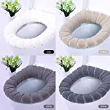4pcs Bathroom Toilet seat, Soft Thicker Warmer Stretchable Washable Toilet seat Cover Pads, 4pcs-P