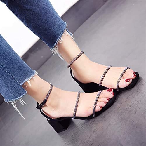 alti con singole europee lavoro scarpe tacco tacchi da YMFIE alto estive toe Le open sandali red scarpe scarpe tacco strass da quadrato sposa signore 4wqA8RxB
