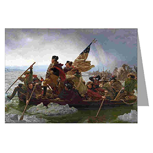 (12 Vintage Notecards boxed set of George Washington Crossing the Delaware by Emanuel Leutze, Museum Modern Art c1851.)
