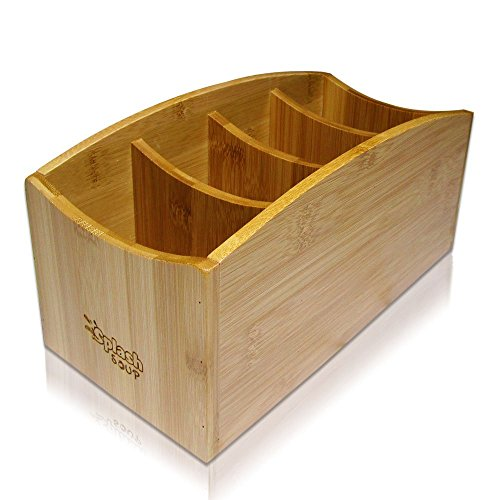 Sustainable Bamboo Media - Natural Bamboo Caddy   Coffee Table Organizer   Home Office Stationery Desk Storage   Nightstand Bin   Utensil Compartments   Living Room Remote Holder  Kitchen Accessory Supply Divider by Splash Soup