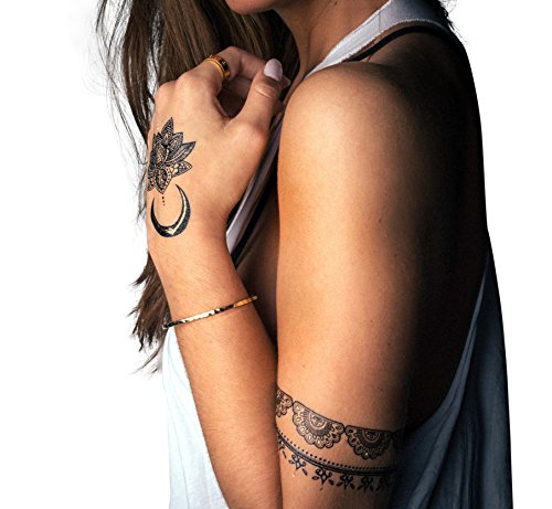 Onyx Goddess Collection -- Designer Temporary Tattoos by TribeTats -- Henna Inspired, Applies In A Flash -- Boho Music Festival Accessories -- Moon, Mandala, Hamsa, Arrow, Flowers, Armbands