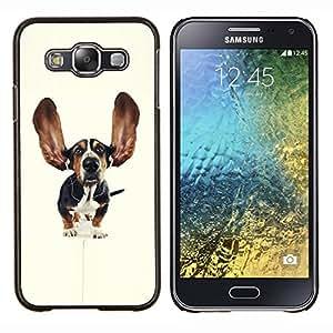 EJOOY---Cubierta de la caja de protección para la piel dura ** Samsung Galaxy E5 E500 ** --Orejas Basset Hound Dog Pet perrito