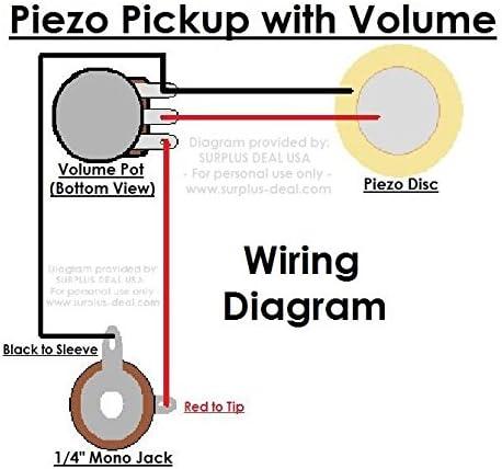 piezo guitar jack wiring diagram amazon com 27mm piezo pickup kit for cigar box guitars   acoustic  amazon com 27mm piezo pickup kit for