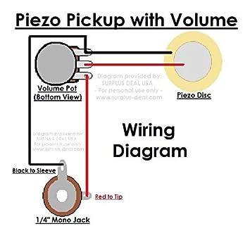 amazon com 27mm piezo pickup kit for cigar box guitars acoustic rh amazon com Jazz Bass Wiring Diagram Jazz Bass Wiring Diagram