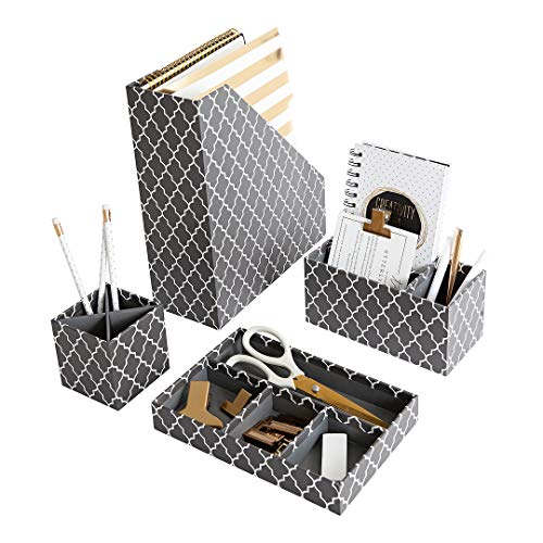 Magazine Womans - Gray Desk Sets and Accessories for Women - 4 Piece Set - Mail Sorter, Desk Organizer Tray, Pen Cup, Magazine File Holder - Girly Desk Accessories