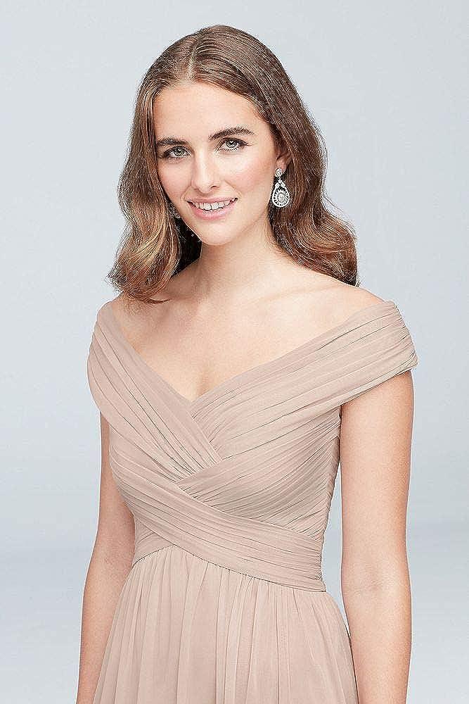 dd00a1a9c2d David s Bridal Crisscross Off-The-Shoulder Mesh Bridesmaid Dress Style  F19951 at Amazon Women s Clothing store
