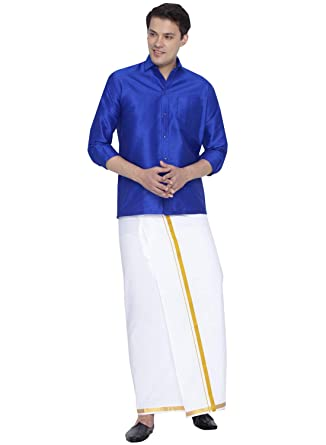 095ea57cf7efa4 Vastramay Men Blue Cotton Silk Shirt and Dhoti Set (VASMSH002BUnMU1 46)