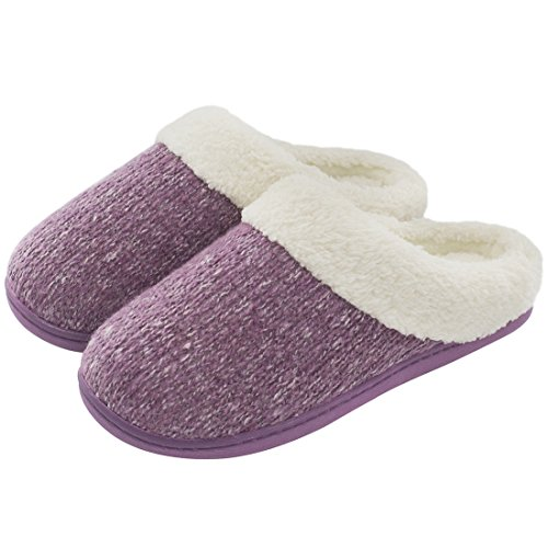 ULTRAIDEAS Women's Cozy Memory Foam Knit Slippers, Ladies' Slip on Mules House Shoes with Indoor Outdoor Anti-Skid Rubber Sole (Small / 5-6 B(M) US, Purple)