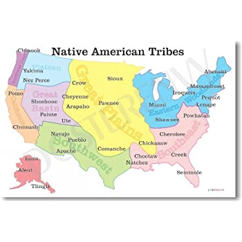 native american tribes map us history classroom school poster by posterenvy