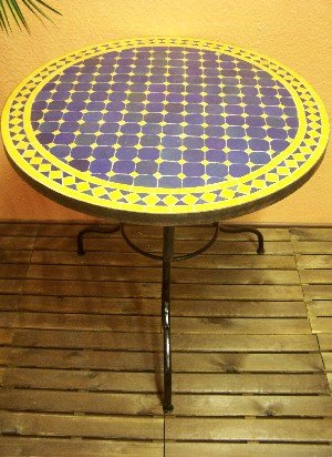 Mosaiktisch marrakesch Blau/ Gelb, 80cm