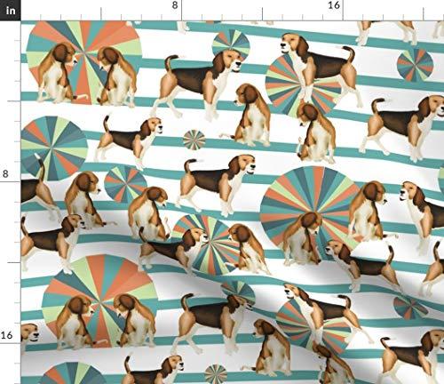 (Spoonflower Puppies + pinwheels Fabric - Retro Rainbow Puppy Beagle Dog Pet Pup Puppy Retro Pinwheel Rainbow by Kociara Printed on Petal Signature Cotton Fabric by The)