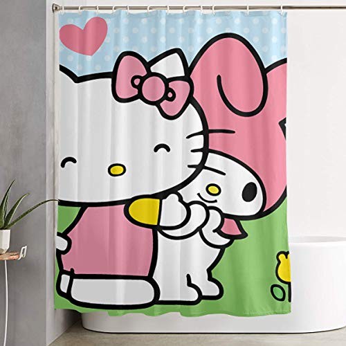 WSXEDC Shower Curtain Hello Kitty with Friends Waterproof Curtain 60 X 72 Inches