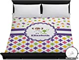 Girl's Space & Geometric Print Duvet Cover (Personalized) - King