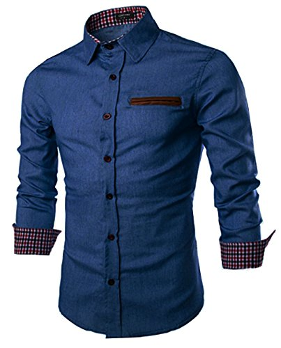 (Coofandy Men's Casual Dress Shirt Button Down Shirts,Type 01 - Sky)