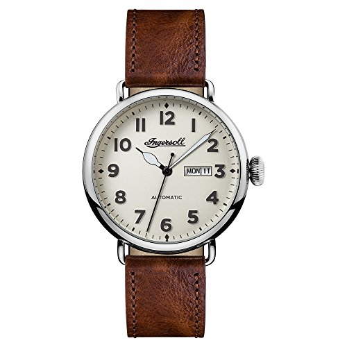 Ingersoll Men's Automatic Stainless Steel and Leather Casual Watch, Color:Brown (Model: I03402)