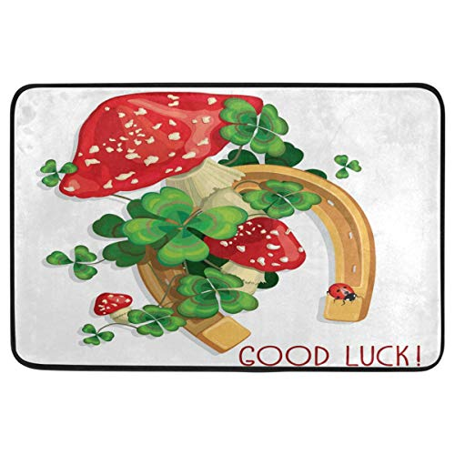 - St.Patrick's Day Decoration Doormat Home Decor Clover Shamrocks Horseshoe Marshroom Ladybug Good Luck Welcome Indoor Outdoor Entrance Bathroom Floor Mats Non Slip Washable Hoilday Pet Food Mat, 24x16