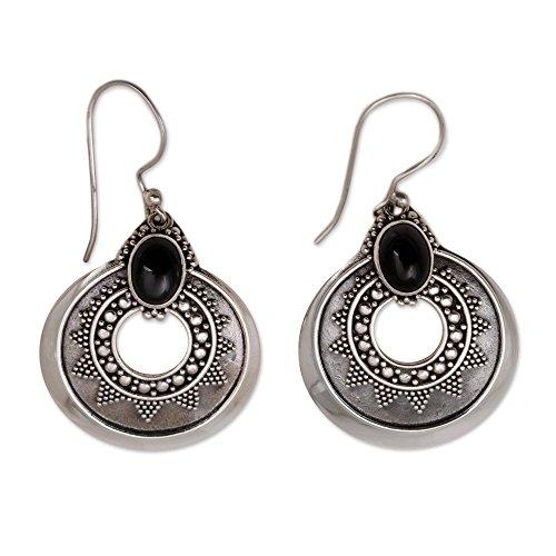 NOVICA Onyx .925 Sterling Silver Dangle Earrings 'Royal Medallion'