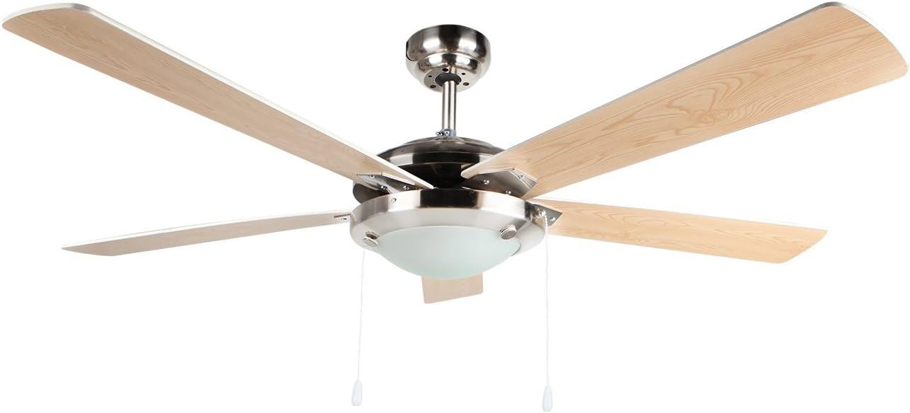 Orbegozo CP 81132 Ventilador de techo con luz, 5 palas reversibles, 132 cm de diámetro, potencia de 60 W y 3 velocidades