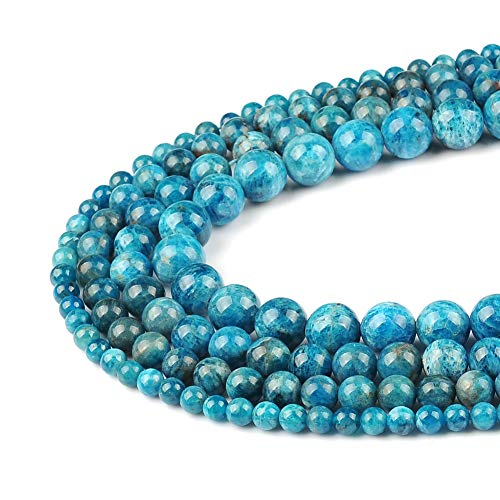FANGQUN 45pcs 8mm Apatite Round Loose Beads for Jewelry Making Natural Stone DIY Bracelets Necklace Earring Handmade Polished Gemstone Craft Gift 1 Strand 15