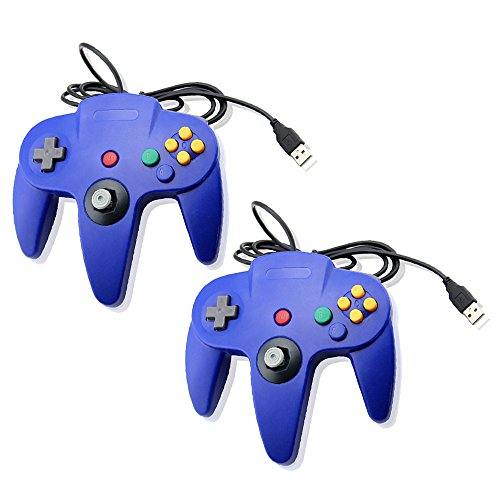 Blue Bundle Nintendo 64 Classic USB Game Wired Controller Joypad Gaming- Compatible with PC and MAC by Mario Retro Dual Pack Blue