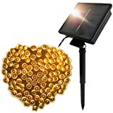 FARSIC Christmas Solar Led Fairy Lights - 72 ft Cable, 200 Lights, Waterproof - Ambiance lights for Outdoor, Patio, Fairy Garden, Home, Wedding, Christmas Party, Xmas Tree(Warm White)