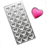 KALAIEN Pillow Heart Polycarbonate Chocolate Mold PC Mould 21 Hearts Shaped Jelly Candy Making Mold