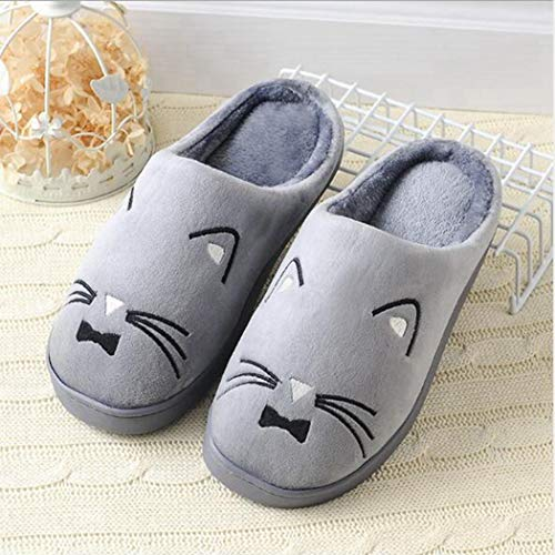 Confortable Tongs 02 Chaud Chaussures Femmes forme Couple Cartoon Slip Plate Printemps Chaussons Lovers Chat Gris Sandales nPqx1Z0qS