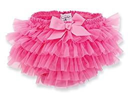 Mud Pie Baby-girls Newborn Chiffon Bloomer, Hot Pink, 12-18 months