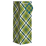 Jillson Roberts 6 Count Moss Plaid All-Occasion Wine and Bottle Bag, Green/White/Brown