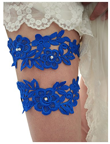 Classic lace crystals pearls wedding garter set s06 (Royal blue)