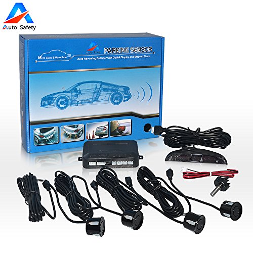 Parking Assist Sensor (Auto safety Car Reverse Backup Radar System parking sensor kit ,LED Dispaly + Human Voice Alert +4 sensors+4 colors for Universal Auto Vehicle (black))
