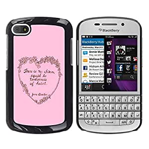 MOBMART Carcasa Funda Case Cover Armor Shell PARA BlackBerry Q10 - Pink Tenderness Of The Heart