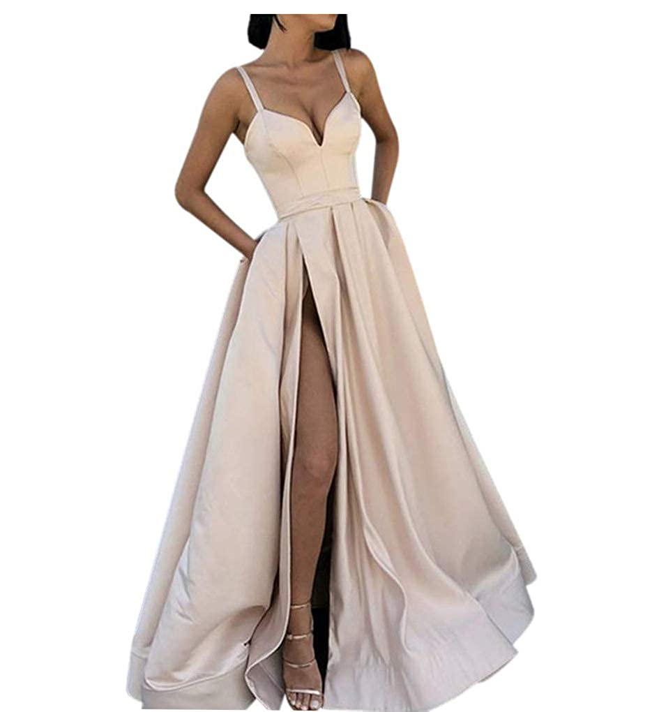Champagne Fanciest Women's Spaghetti Straps Slit Satin Prom Evening Dresses with Pockets
