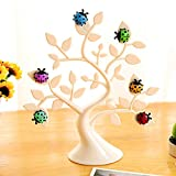 Chris.W 1Pc Creative Adorable Tree Shape Ladybug Magnet Tabletop Memo Clip Holder Display for Cards/Notes/Photos/Pictures/Placecards, White