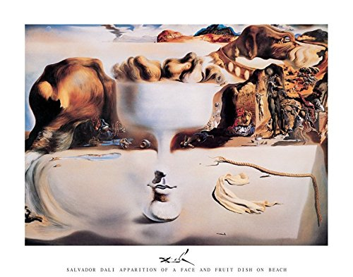 Salvador Dali Apparition of a Face and a Fruit Dish on Beach Surrealist Art Print (Unframed 24x36 Poster) ()