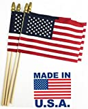 GiftExpress Set of 48, Proudly Made in U.S.A. Small American Flags 4x6 Inch/Small US Flag/Mini American Stick Flag/American Hand Held Stick Flags Spear Top