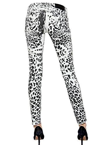 Pierre Balmain Women's Leopard Print Skinny Jeans 27 White