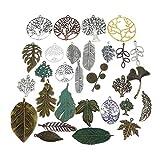 GraceAngie Wholesale 50 Pieces Antique Bronze Vintage Silver Leaf Mixed Tree Branch Charms