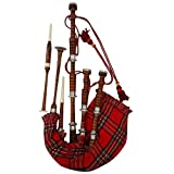 AAR Scottish Bagpipe Rosewood Royal Stewart Tartan Natural Color with Silver Plain Mounts Free Tutor Book, Carrying Bag, Drone, Reeds