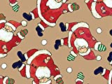 Pack of 1, Santa Celebration 18'' x 833' Full Ream Roll Gift Wrap (Kraft) for Holiday, Party, Kids' Birthday & Special Occasion Packaging
