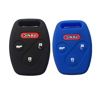 Black and Blue Silicone Rubber Keyless Entry Remote Key Fob Case Skin Cover Protector for Honda 3+1 Buttons: Automotive