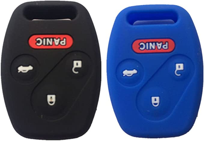 Blue and Red Silicone Rubber Keyless Entry Remote Key Fob Case Skin Cover Protector for Honda 3+1 Buttons Ezzy Auto LYSB01722954U-ELECTRNCS